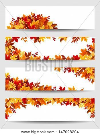 Set of four vector banners with red, orange, brown and yellow autumn leaves.