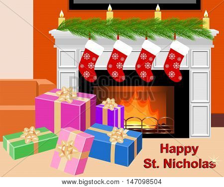 Fireplace with socks and gift boxes in celebratory interior. Happy St. Nicholas. Vector illustration.