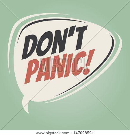 don't panic retro speech balloon
