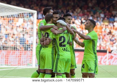 VALENCIA, SPAIN - SEPTEMBER 11th: Betis players celebrating a goal during Spanish League match between Valencia CF and Real Betis at Mestalla Stadium on September 11, 2016 in Valencia, Spain