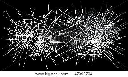 Halloween web background 324. Eau-forte black-and-white decorative texture vector illustration.