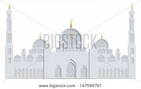 Beautiful islamic mosque drawn in gray and gold and isolated on white background. Greeting card template for Ramadan Eid al Fitr-festival of breaking of the fast Eid al-Adha-festival of sacrifice