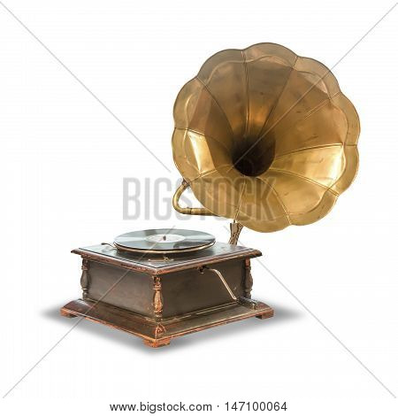 old antique gramophone for vinyl records isolated on white background