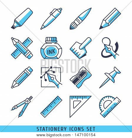 Stationery icons set lines blue vector illustration