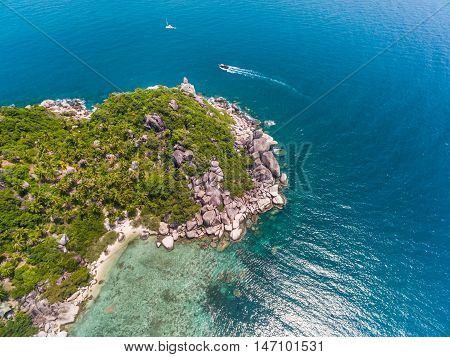 Aerial view of beach and boats Koh Tao Thailand