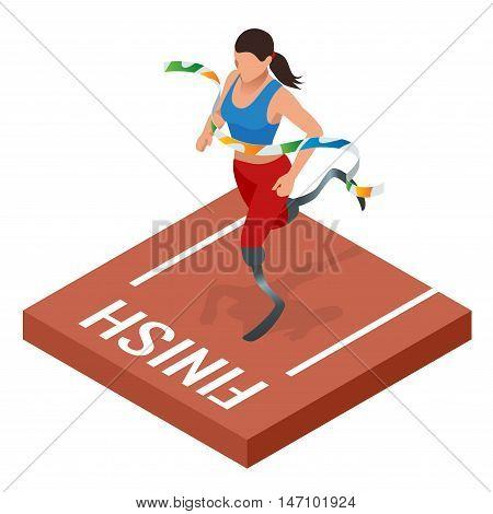Isometric sports for people with disabled activity. Handicapped sportsmen. Athlete with handicap at the stadium.