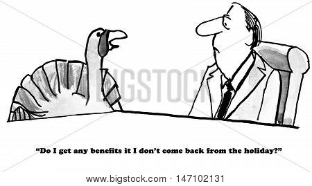 B&W Thanksgiving cartoon of a turkey trying to learn about death benefits.