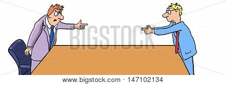 Color business illustration showing two angry businessmen pointing fingers at each other.