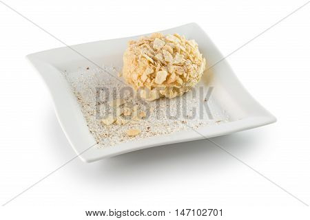 napoleon cake on white plate isolated on the white background.