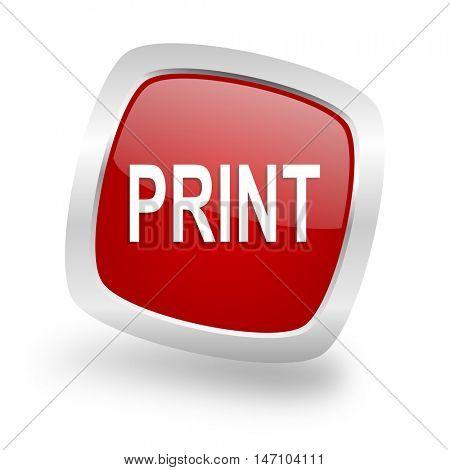 print square glossy red chrome silver metallic web icon