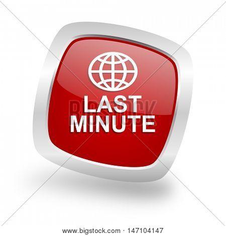 last minute square glossy red chrome silver metallic web icon