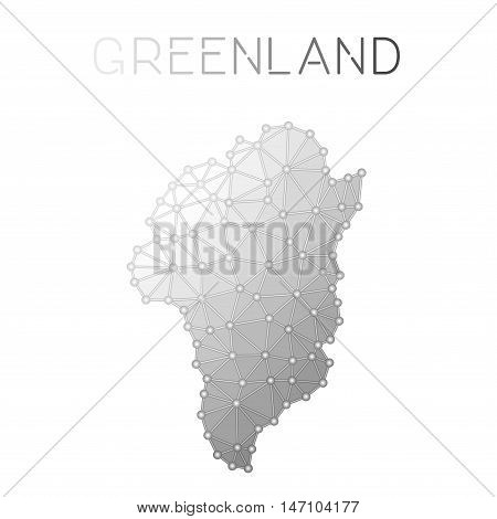 Greenland Polygonal Vector Map. Molecular Structure Country Map Design. Network Connections Polygona