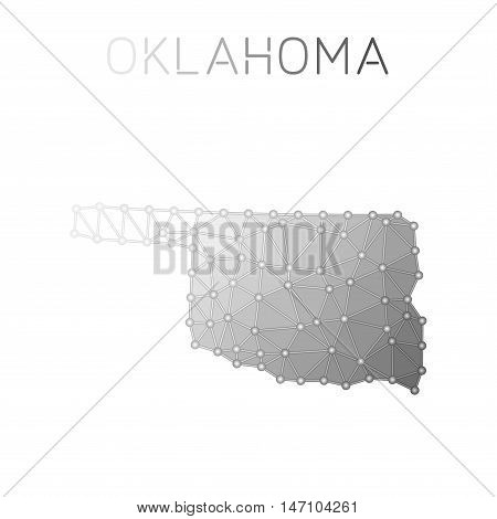 Oklahoma Polygonal Vector Map. Molecular Structure Us State Map Design. Network Connections Polygona