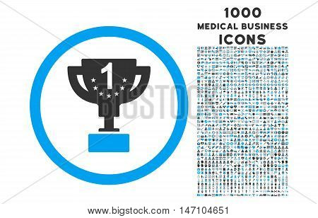 First Prize Cup rounded glyph bicolor icon with 1000 medical business icons. Set style is flat pictograms, blue and gray colors, white background.