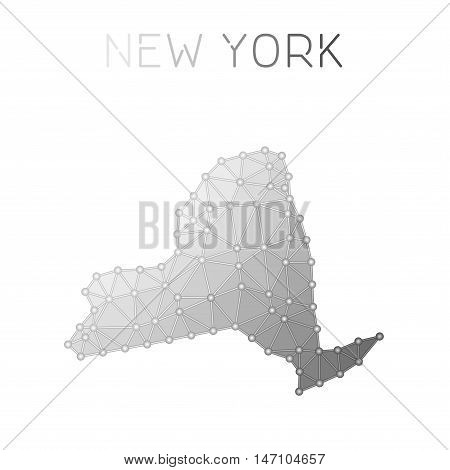 New York Polygonal Vector Map. Molecular Structure Us State Map Design. Network Connections Polygona