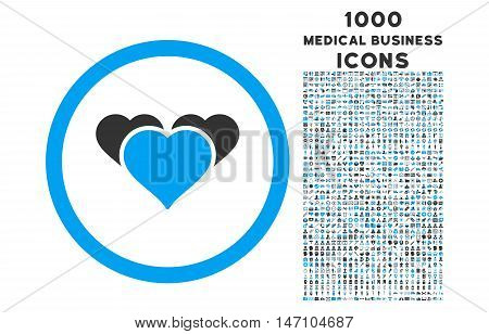 Heart Favourites rounded glyph bicolor icon with 1000 medical business icons. Set style is flat pictograms, blue and gray colors, white background.