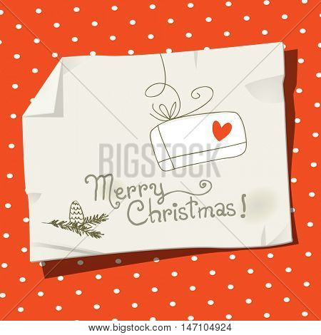 Vector merry christmas greeting card, message on a paper. Doodle, sketch, hand drawing on paper.