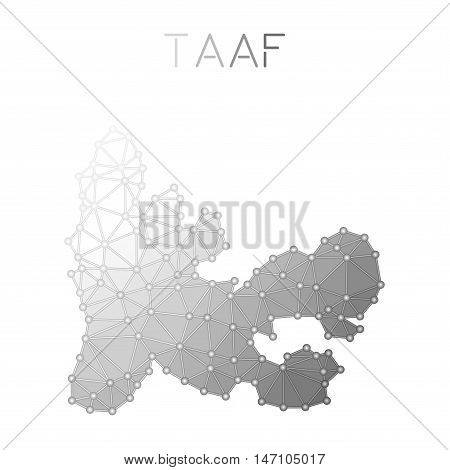 French Southern Territories Polygonal Vector Map. Molecular Structure Country Map Design. Network Co