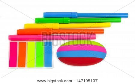 School stationery isolated over the white background