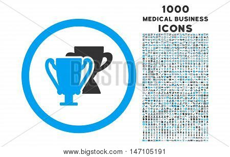 Trophy Cups rounded glyph bicolor icon with 1000 medical business icons. Set style is flat pictograms, blue and gray colors, white background.