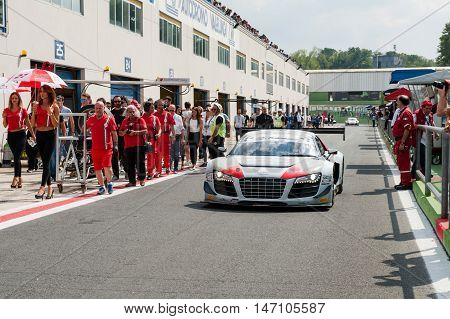 Vallelunga, Rome, Italy. September 10Th 2016. Audi R8 In Pit Lane Before Race
