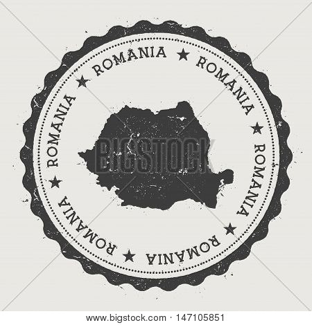Romania Hipster Round Rubber Stamp With Country Map. Vintage Passport Stamp With Circular Text And S