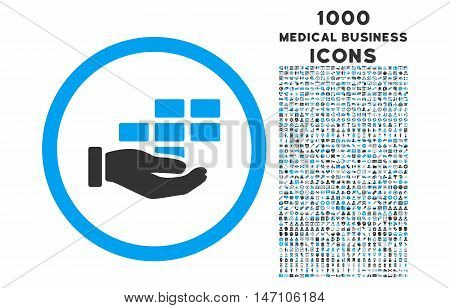 Service Schedule rounded glyph bicolor icon with 1000 medical business icons. Set style is flat pictograms, blue and gray colors, white background.