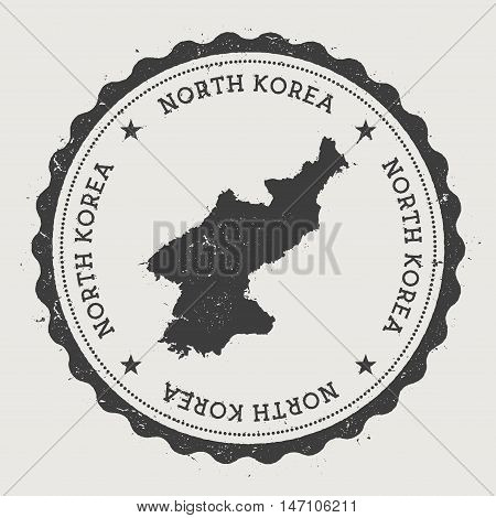 Korea, Democratic People's Republic Of Hipster Round Rubber Stamp With Country Map. Vintage Passport