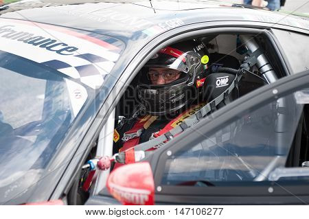 Vallelunga, Rome, Italy. September 10Th 2016. Driver Concentrated On Starting Grid Before Race