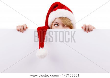 Woman With Blank Empty Banner Board. Christmas