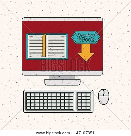 Ebook and computer icon. Technology gadget digital and downloads theme. Colorful design. Vector illustration