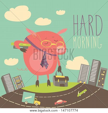Funny sleepy pig going to work. Vector illustration