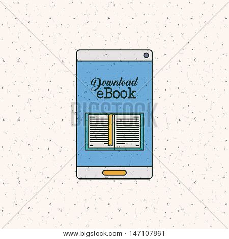 Ebook and smartphone icon. Technology gadget digital and downloads theme. Colorful design. Vector illustration