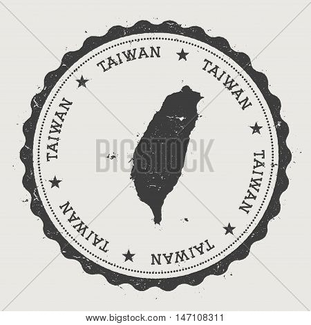 Taiwan, Republic Of China Hipster Round Rubber Stamp With Country Map. Vintage Passport Stamp With C