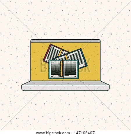 Ebook and laptop icon. Technology gadget digital and downloads theme. Colorful design. Vector illustration