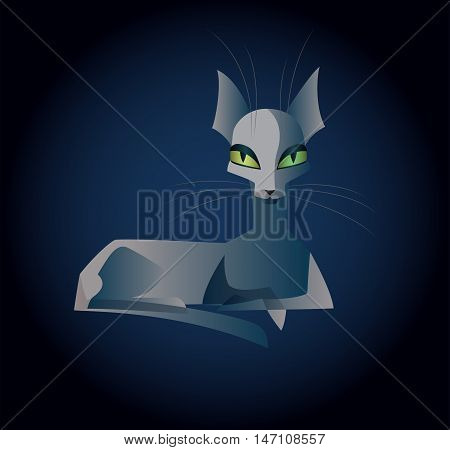 Vector illustration of a thin semitransparent ghost cat with different colored eyes lying and staring straight. Square format, dark blue background.