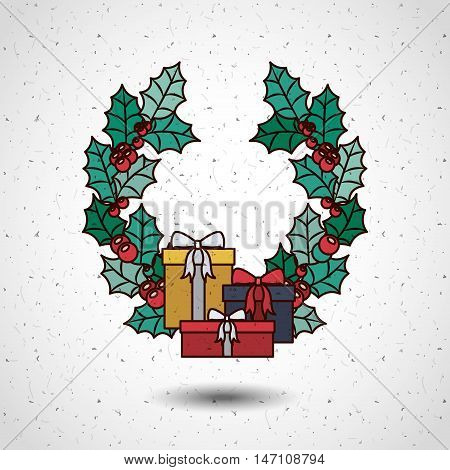 gifts and wreath icon. Merry Christmas season decoration figure theme. Colorful design. Vector illustration