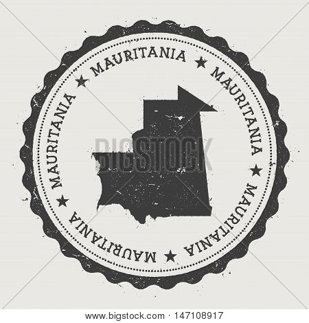 Mauritania Hipster Round Rubber Stamp With Country Map. Vintage Passport Stamp With Circular Text An