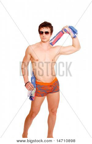 Young attractive male body builder. Studio shot, white background.