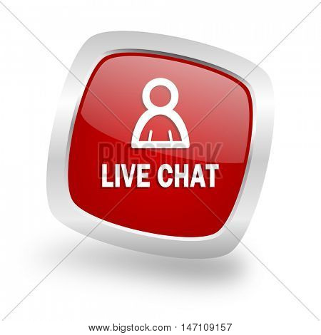 live chat square glossy red chrome silver metallic web icon