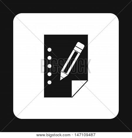 Sheet of paper and pencil icon in simple style on a white background vector illustration