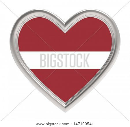 Latvian flag in silver heart isolated on white background. 3D illustration.