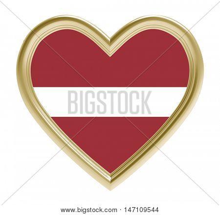 Latvian flag in golden heart isolated on white background. 3D illustration.