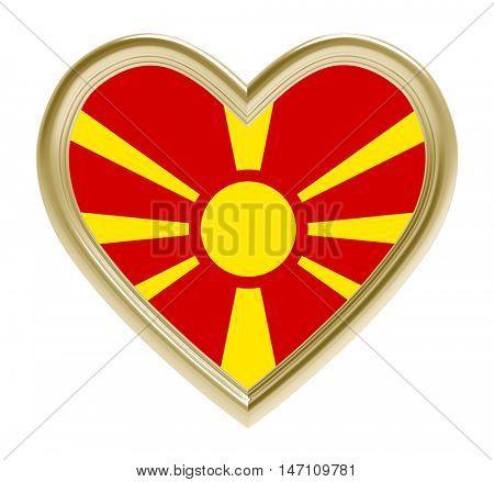 Macedonian flag in golden heart isolated on white background. 3D illustration.