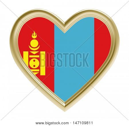 Mongolian flag in golden heart isolated on white background. 3D illustration.