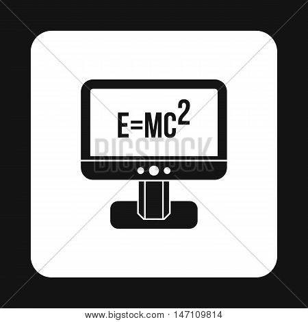 Computer monitor with the Theory of Relativity formula icon in simple style on a white background vector illustration