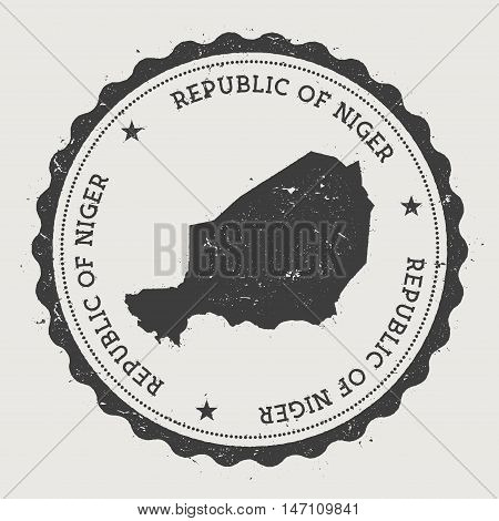 Niger Hipster Round Rubber Stamp With Country Map. Vintage Passport Stamp With Circular Text And Sta