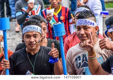 Antigua Guatemala - September 14 2015: Locals wear headbands saying