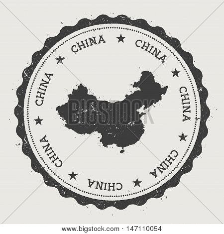 China Hipster Round Rubber Stamp With Country Map. Vintage Passport Stamp With Circular Text And Sta