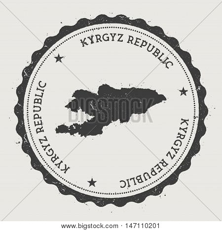 Kyrgyzstan Hipster Round Rubber Stamp With Country Map. Vintage Passport Stamp With Circular Text An